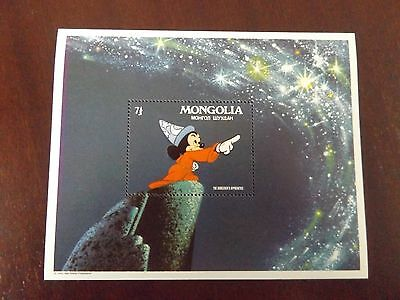 Mnh Walt Disney Stamp Sheet Mongolia 1983 The Sorcerer's Apprentice