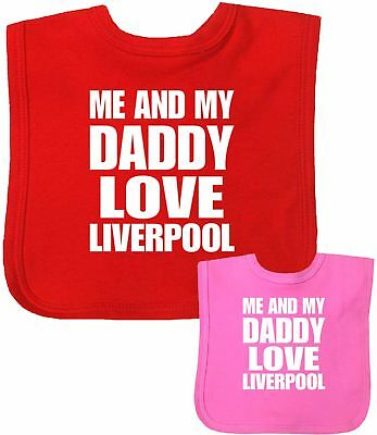 Babyprem Baby Clothes Me + Dad Love LIVERPOOL Feeding Weaning Bib Gifts One Size