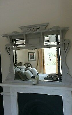 Antique shabby chic overmantle mirror with 3 bevelled glass panes