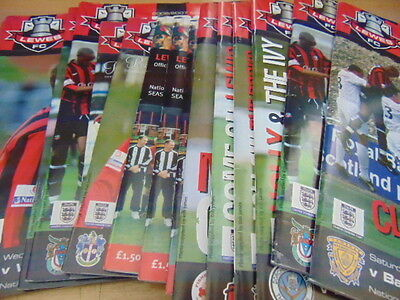 Bundle 16 Lewes FC Home Programmes Listed 1980s-2000s