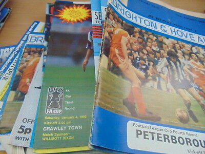 Bundle 32 Brighton FC Home Programmes Listed 1970s-1990s
