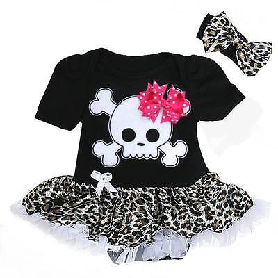 Black leopard skull skirted romper goth alternative baby clothes goth rock metal