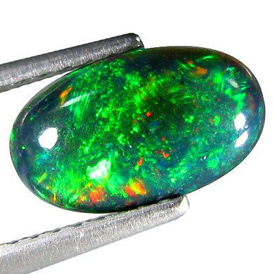 1.120Cts Attractive Red Green Multi Color Black Natural Ethiopian Opal Oval