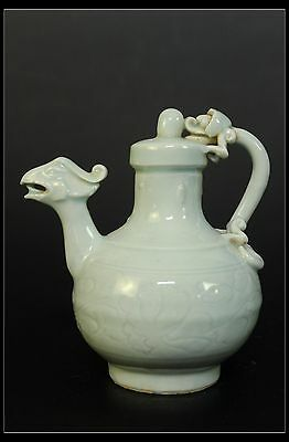 Fine Rare Beautiful Chinese White Color Porcelain Carved Phoenix Dragon Wine Pot
