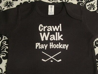 Crawl play hockey baby clothes boy shirt infant black outfit one piece bodysuit