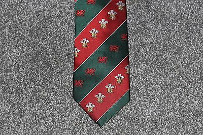 Wales Rugby Union Tie with Welsh Dragon and Prince of Wales Badges