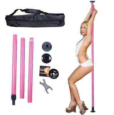 Portable Dancing Pole Dance Stripper Kit Exercise Fitness Sport Ladies Pink Home