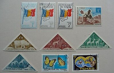 10 stamps of Republique du Tchad, 1962-1970. Some mint but lightly hinged