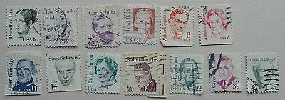 13 stamps of USA from the Great Americans set 1980s. Used.
