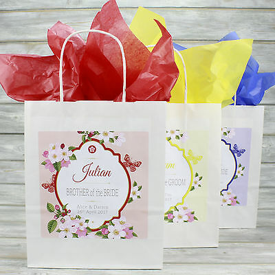 Personalised Wedding Favour Party Gift Bag | Coloured Tissue Paper | Butterfly