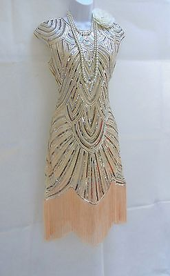 1920's Gatsby Vintage Charleston Sequin Tassel Flapper Dress  8 10 12 14 16 18