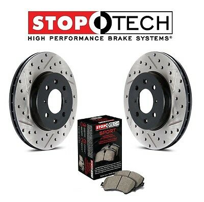 Front+Rear Drilled Slotted Black Platinum Series Rotors Stoptech Brake Pads EP3