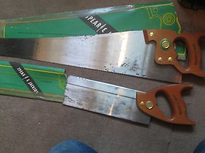 "2x VINTAGE SPEAR JACKSON HAND SAWS 22""10 AND 10"" BACKSAW"