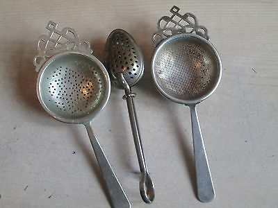 3x OLD TEA STRAINERS EPNS ETC