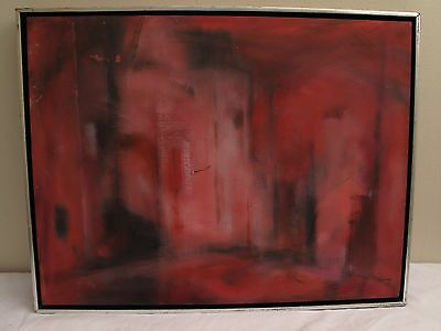 Vtg Mid Century Modern Abstraact Painting Oil On Canvas Dark Pink Black Signed