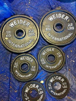 """Pairs 22 5.5 2.75 lbs Weider Weight Plates 2"""" Olympic 2x22 2x5.5 2x2.75 pounds"""