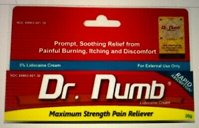 Dr Numb Lidocaine Cream 30G Skin Numbing Tattoo, Waxing Piercing Exp 11/2021