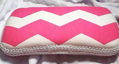 Handmade Hot Pink & White Chevron Cotton Fabric Diaper Wipe Case - FREE Shipping
