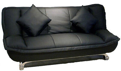 Premiere 3 Seater Sofa bed in bonded leather Black - Free Cushions -