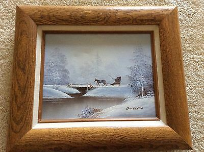 Vintage Oil Painting Framed Winter Horse Carriage Signed Don Benton