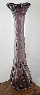 "Quality Hand Blown 17"" Victorian Amethyst Glass Ruffled Top Vase**EXTRODINARY**"