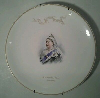 Queen Victoria 1897 Jubilee plate with Johnson Brothers Hanley Advertisement