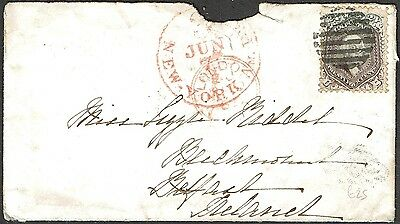 USA 24c Sc#70a COVER to IRELAND 1862