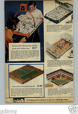 1971 PAPER AD Game Hockey Tabletop Stanley Cup Baseball Basketball Coleco