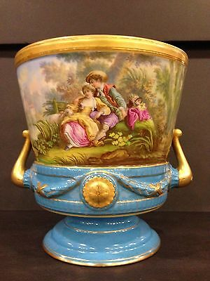 Antique Sevres Style French Hand Painted Footed Jardiniere Gilt Turquoise
