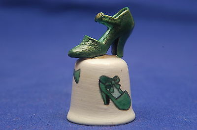 Green & Gold Shoe Mounted On Bisque Thimble B/44