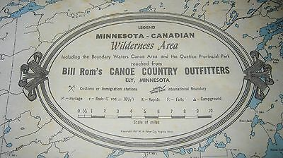 Vintage Minnesota Map of the Boundary Waters Canoe Area 1967, Ely Mn.