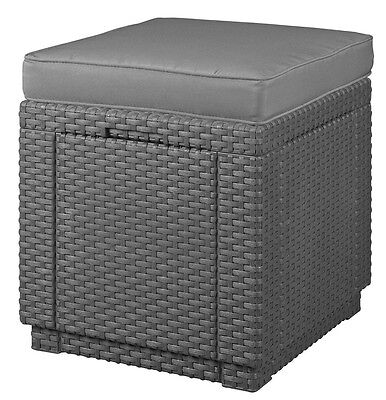 Rattan Furniture Cube Garden Seat Patio Outdoor Anthracite Stool Wicker Dinning