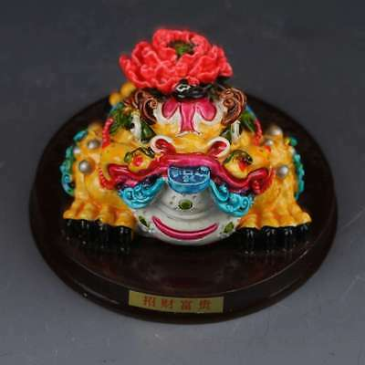Chinese Cloisonne Hand carving  Flower beast statue  G389