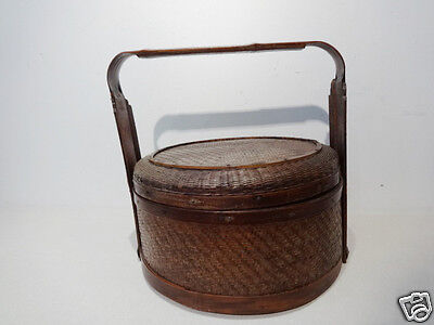Superb Old Chinese Bamboo Wedding Basket Y Must See !!!!....