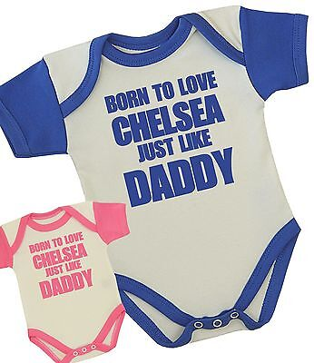 BabyPrem Baby Clothes Chelsea Daddy Bodysuit Vest Fun Shower Gift Boys Girls