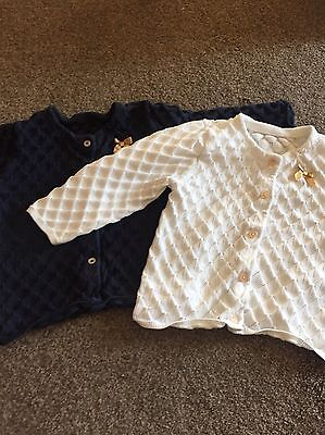 Baby Bundle X 2 Marks And Spencers Cardigans Tops Blue White Lovely 12-18m