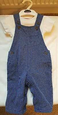 BNWT Autograph M&S Dungarees and Short Sleeve Vest Top 3-6 Months Blue White