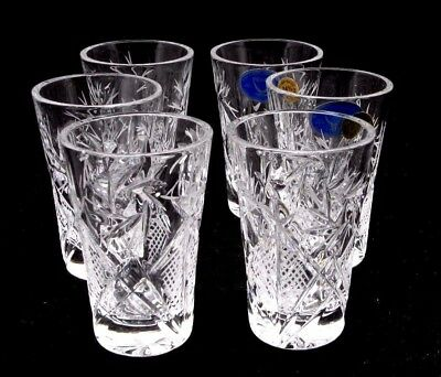 Set of 6 Russian Cut Crystal Shot Glasses 1.2 oz - Soviet / USSR Vodka Glassware