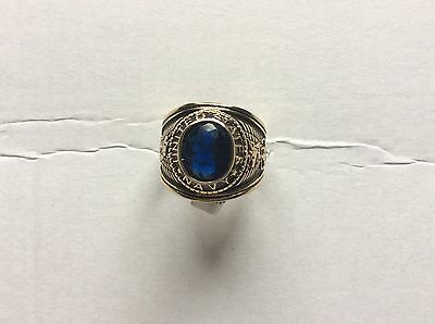 Mens gold plated simulated sapphire US navy military ring size US 13--UK.Z  bnwt