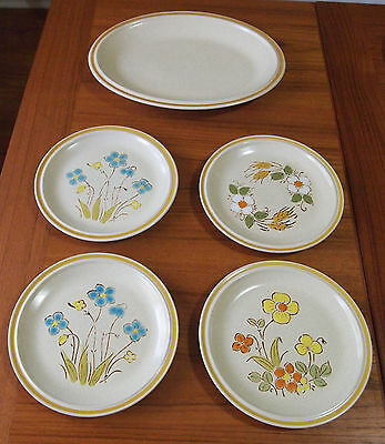 Vintage Hearthside Garden Festival Stoneware - 5 Pc. Mixed Lot - Very Nice !!