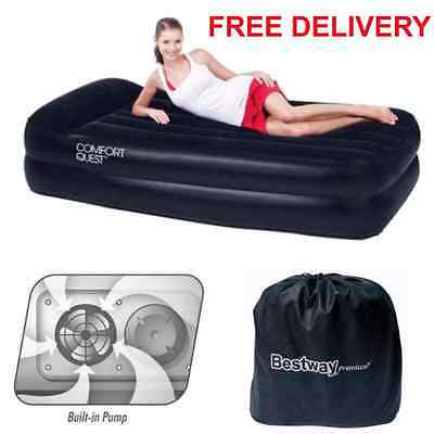 Single Inflatable Air Bed Raised Electric Pump Camping Airbed Mattress Flocked !