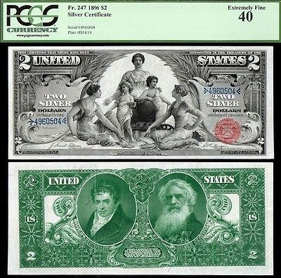 1896 $2 Educational Silver Certificate PCGS XF40 SUPERB!