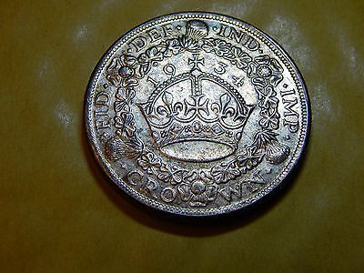 1934 George V Crown Silver plated WREATH CROWN Coin George V restrike