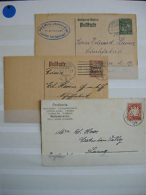THREE very pretty BAYERN postcards - all used