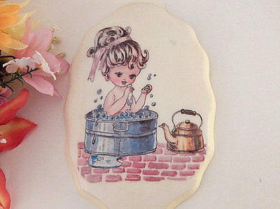 Wall Hanging Plaque Bathroom Decor Shabby Handcrafted Girl in Wash Tub