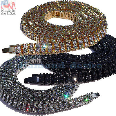 ALL SIZES 2 ROW Iced Out Necklace Chain Gold Silver Black Hip Hop Men two row cz