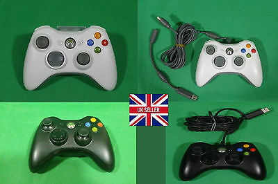 Official Microsoft Xbox 360 White Black Wireless / Wired USB Controller Gamepads