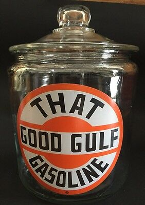 Vintage That Good Gulf Gasoline Glass Jar Container  Cracker Cookies Candy