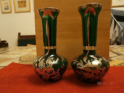 """A Pair of Lovely 5"""" Vintage Art Vases ~ Green Glass & Painted Silver Decoration"""