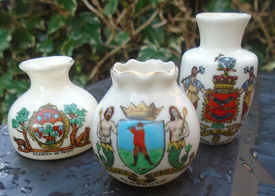 3 Various Pieces ARCADIAN Crested China NEWCASTON ALNMOUTH & BERWICK Goss